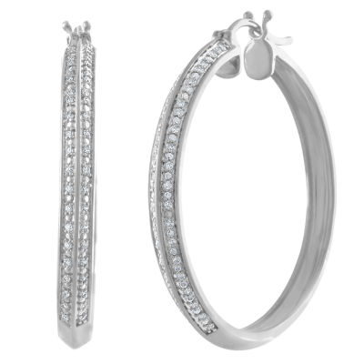 1/4 CT. T.W. White Diamond Sterling Silver Gold Over Silver Hoop Earrings