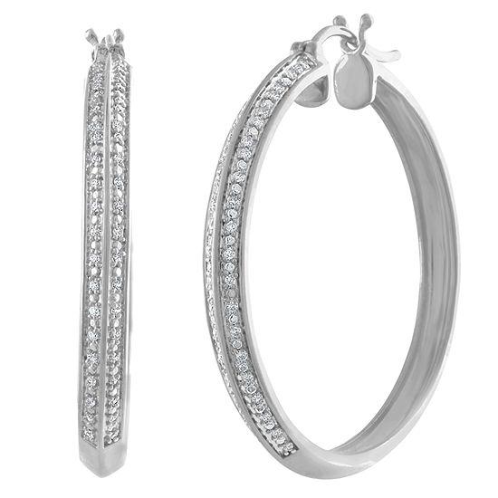 1/4 CT. T.W. Genuine White Diamond Sterling Silver 36mm Hoop Earrings