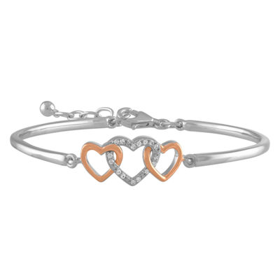 1/10 CT. T.W. Genuine White Diamond 10K Rose Gold Over Silver Sterling Silver Heart Bangle Bracelet