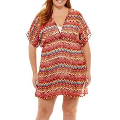Porto Cruz Chiffon Swimsuit Cover-Up Dress-Plus