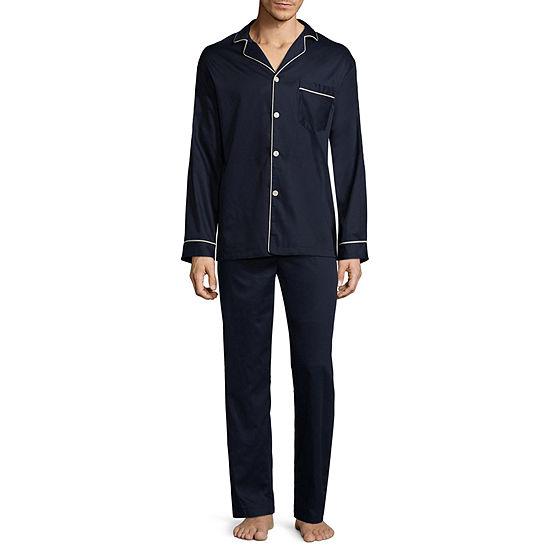 Stafford Mens Sateen Long Sleeve Long Leg Pajama Set Big And Tall