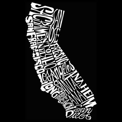 Los Angeles Pop Art California State Sleeveless Word Art T-Shirt  Men's Big and Tall