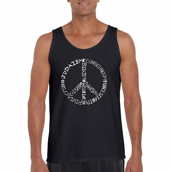 Los Angeles Pop Art Different Faiths Peace Sign Word Art Tank Top  - Men's Big and Tall