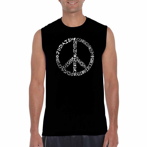 Los Angeles Pop Art Different Faiths Peace Sign Tank Top Big and Tall