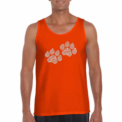 Los Angeles Pop Art Woof Paw Prints Mens Tank Top Big and Tall