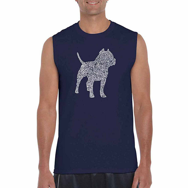 Los Angeles Pop Art Pitbull Sleeveless Word Art T-Shirt  Men's Big and Tall