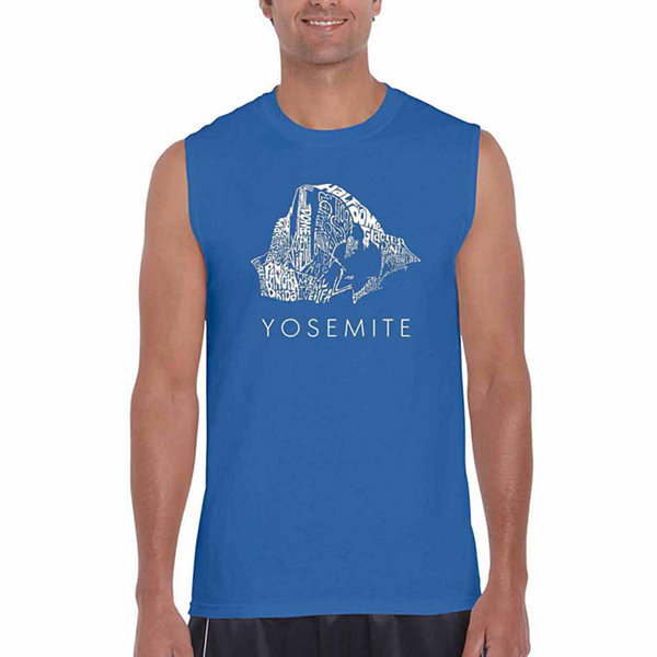 Los Angeles Pop Art Yosemite Sleeveless Word Art T-Shirt  Men's Big and Tall