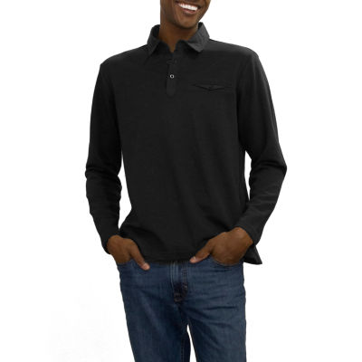 Steve Harvey Solid Polo Long Sleeve Knit Polo Shirt