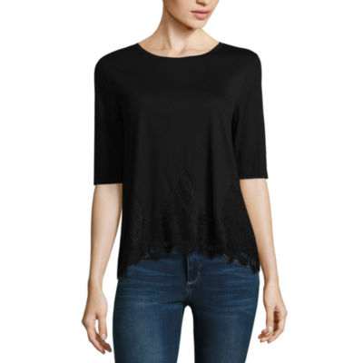 Wallflower Elbow Sleeve Crew Neck T-Shirt-Womens Juniors