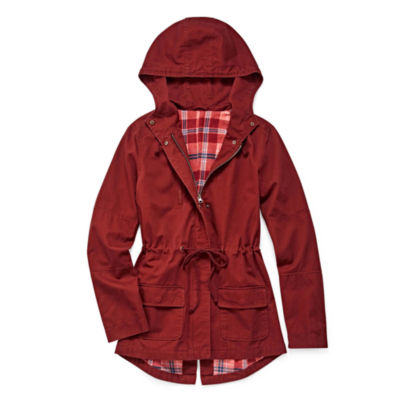 Arizona Twill Plaid Lined Jacket-Juniors Plus