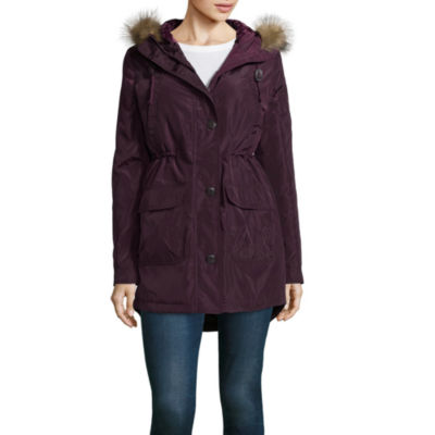 Arizona Poly Twill Velvet Lined Fur Trim Jacket-Juniors