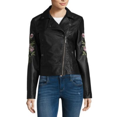 Jou Jou Faux Leather Embroidered Moto Jacket-Juniors