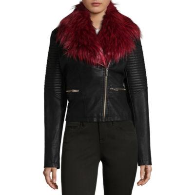 Jou Jou Removeable Fur Faux Leather Moto Jacket-Juniors
