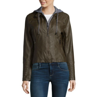 Maralyn And Me Hooded Faux Leather Moto Jacket-Juniors