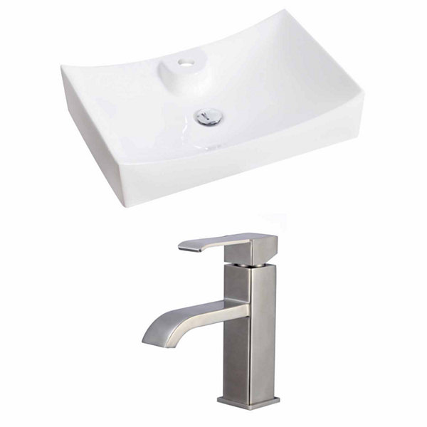 American Imaginations 26-in. W Above Counter WhiteVessel Set For 1 Hole Center Faucet - Faucet Included