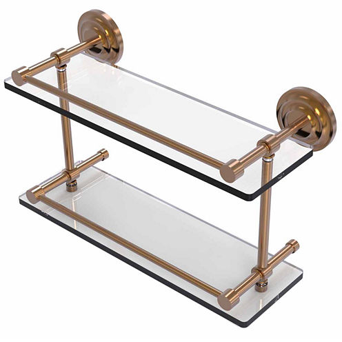 Allied Brass Que New 16 IN Double Glass Shelf WithGallery Rail