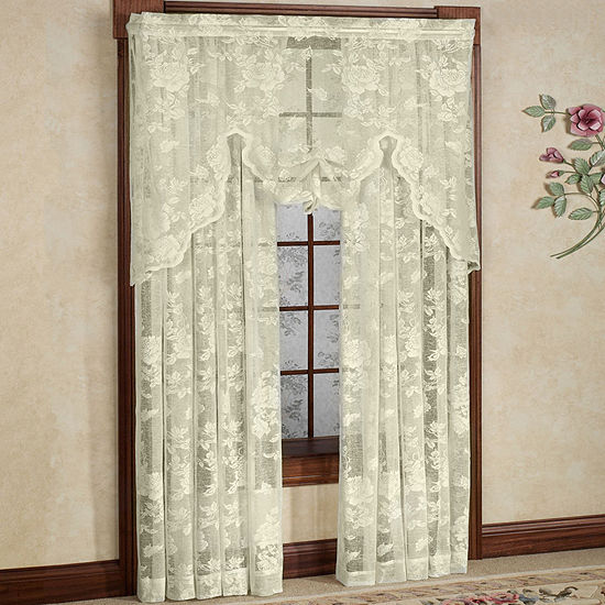 Abbey Rose Floral Pattern High Gauge Lace Window Treatment Collection