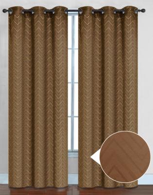 Chevron Pattern Energy Saving Lined Room Darkening Window Panel 2 Pack
