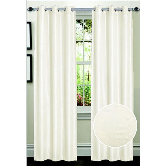 Dot Pattern Energy Saving Lined Grommet Room Darkening Window Panel 2 Pack