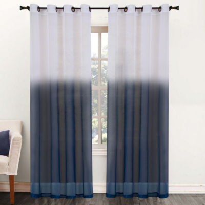 "Essence Two-Tone Sheer Ombre Decorative 52"" x 84"" Window Curtain Panel Tan"