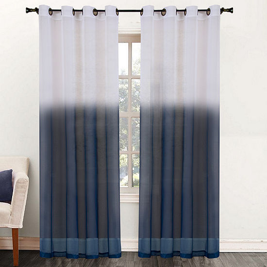 "Essence Two-Tone Sheer Ombre Decorative 52"" x 84"" Window Curtain Panel Tan"