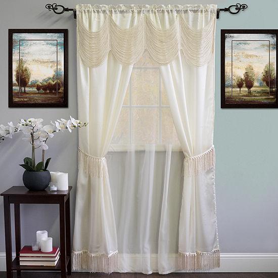 Halley Complete 6 Piece Satin Fringe Window Curtain Set 56 x 84 Merlot or Ivory