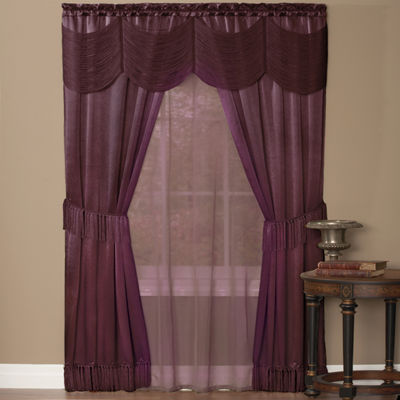 Halley Complete 6 Piece Satin Fringe Window Curtain Set 56 x 84 Merlot or Ivory