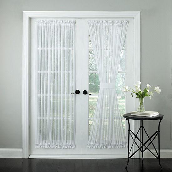 Harmony Semi-Sheer Micro-Stripe Tailored Door Panel With Tieback