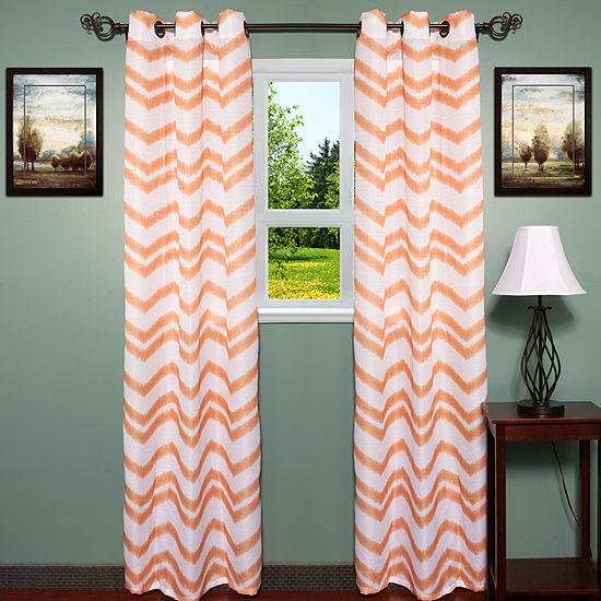 "Ivana Jacquard Chevron Pattern 38"" x 84"" Grommet Curtain 2 Panel Set"
