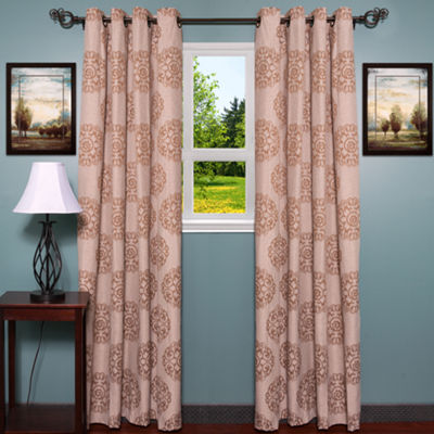 "Jody Jacquard Style Damask Print 55"" x 84"" Grommet Curtain Single Panel"