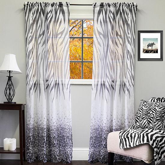 "Kenya Sheer Exotic Animal Print Curtain Panel 50"" x 84"""