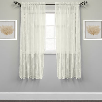 Knitted Lace Window Curtain Single Panel Marine Life Motif