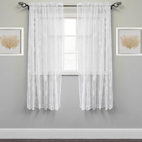 Knitted Lace Window Curtain Single Panel Marine Life Motif