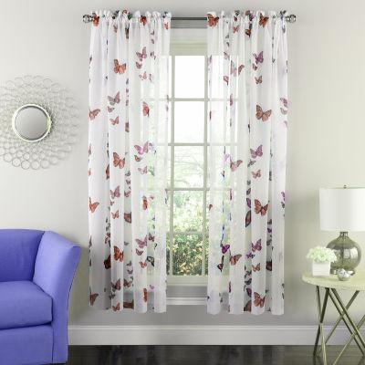 Semi-Sheer Tailored Window Curtain Single Panel Butterflies Design