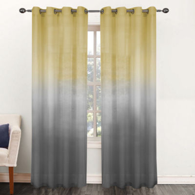 Single Window Curtain Panel Sheer Ombre Rainbow 52W x 84L