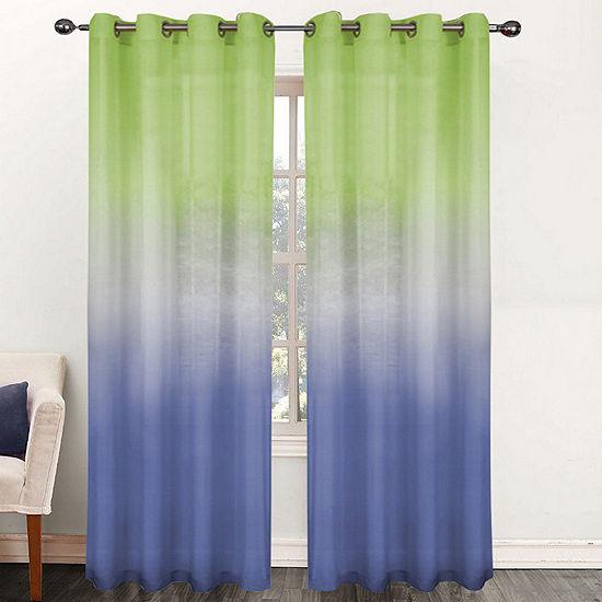 Single Window Curtain Panel Sheer Ombre Rainbow 52W x 84L