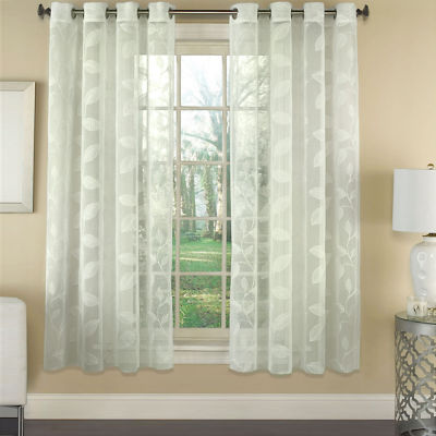 Window Curtain Single Panel Avery Semi-Sheer Faux Linen Embroidered Leaf 53 x 84
