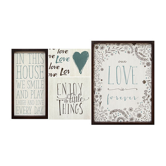 Stratton Home Love Is Forever Wall Art 5-pc. Sentiments + Sayings Print