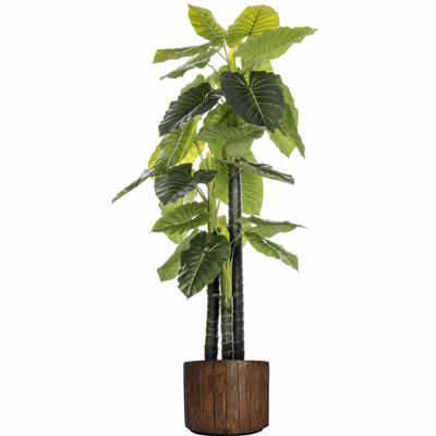 76.8 Inch Tall Indoor/Outdoor Elephant Ear Plant In Faux-Wood Fiberstone Pot