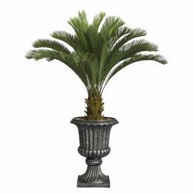 Laura Ashley 62 Inch Tall Cycas Palm Tree In 16 Inch Fiberstone Urn Planter