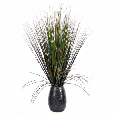 "Laura Ashley 30"" Tall Grass With Twigs In Black Ceramic Pot"