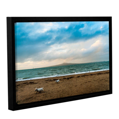 Brushstone Beach Dogs Gallery Wrapped Floater-Framed Canvas Wall Art