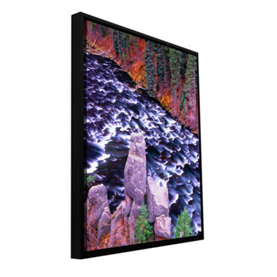 Brushstone Below the Falls Gallery Wrapped Floater-Framed Canvas Wall Art