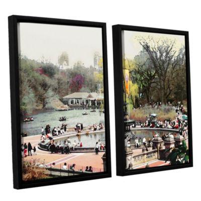 Brushstone Bethesda Fountain 2-pc. Floater FramedCanvas Wall Art