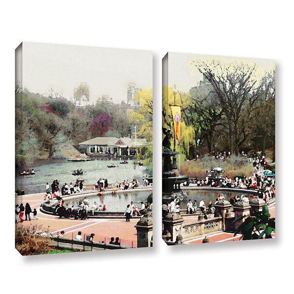 Brushstone Bethesda Fountain 2-pc. Gallery WrappedCanvas Wall Art
