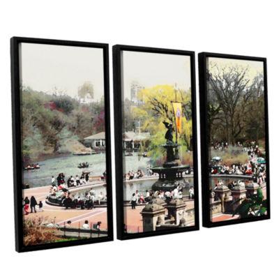 Brushstone Bethesda Fountain 3-pc. Floater FramedCanvas Wall Art