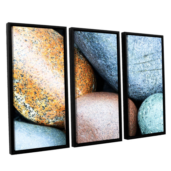 Brushstone Beach Rocks 3-pc. Floater Framed CanvasWall Art