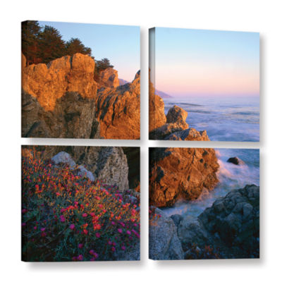 Brushstone Big Sur Sunset 4-pc. Square Gallery Wrapped Canvas