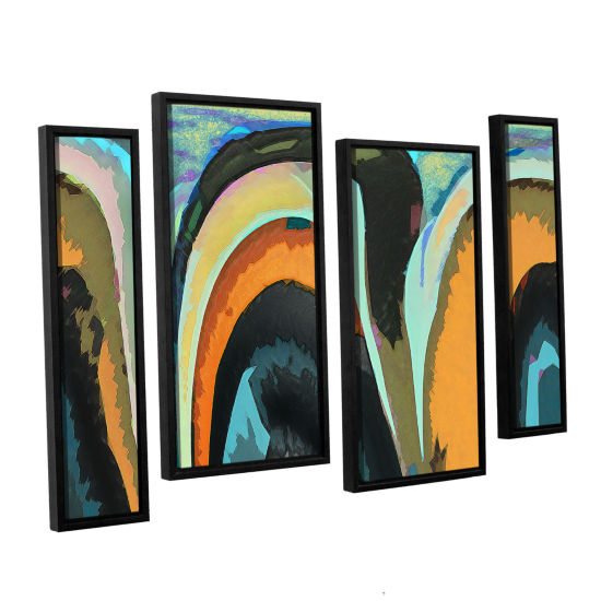 Brushstone Bigan 4-pc. Floater Framed Staggered Canvas Wall Art