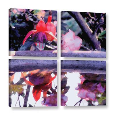 Brushstone Birdbath 4-pc. Square Gallery Wrapped Canvas
